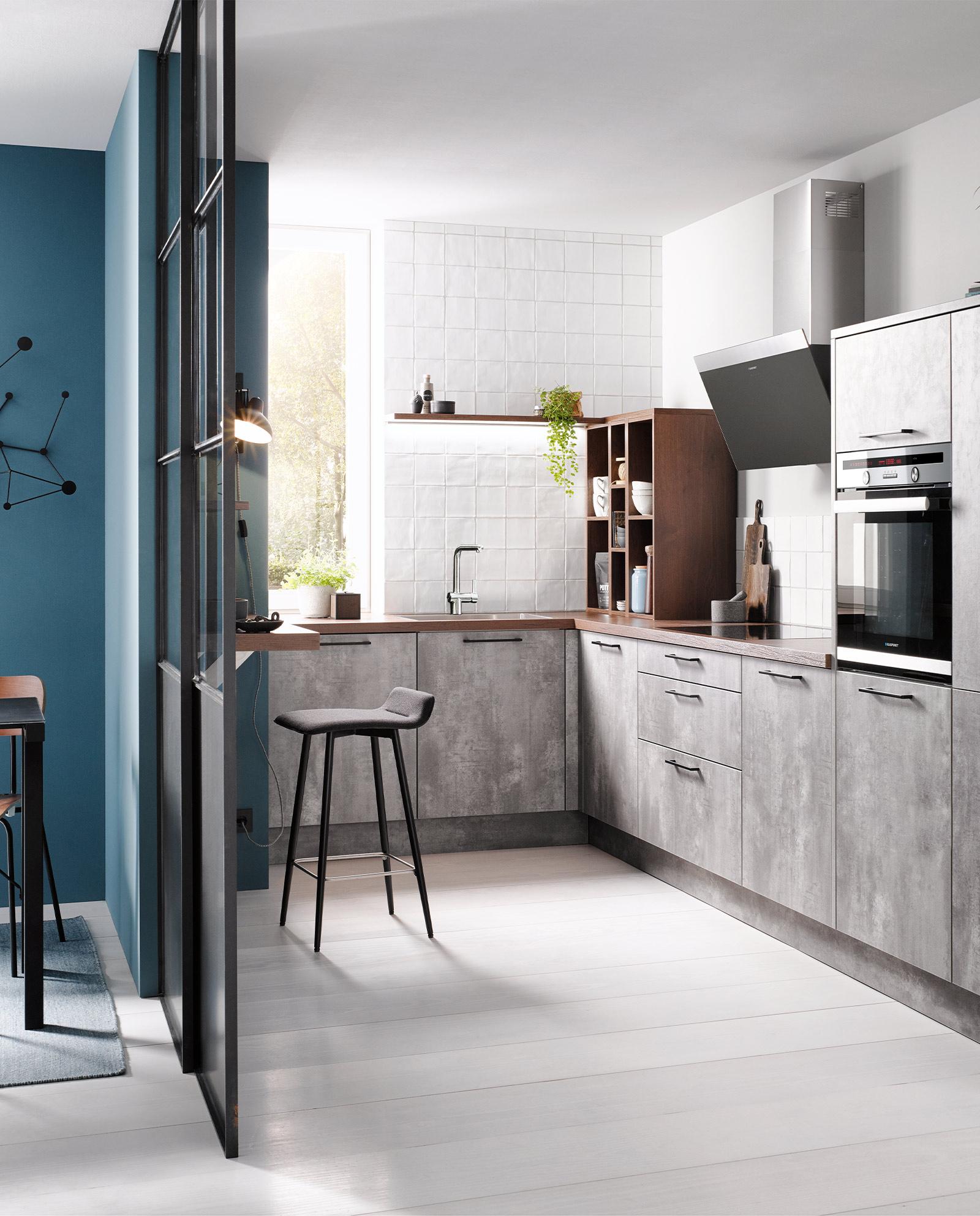 L-Küche in Steinoptik